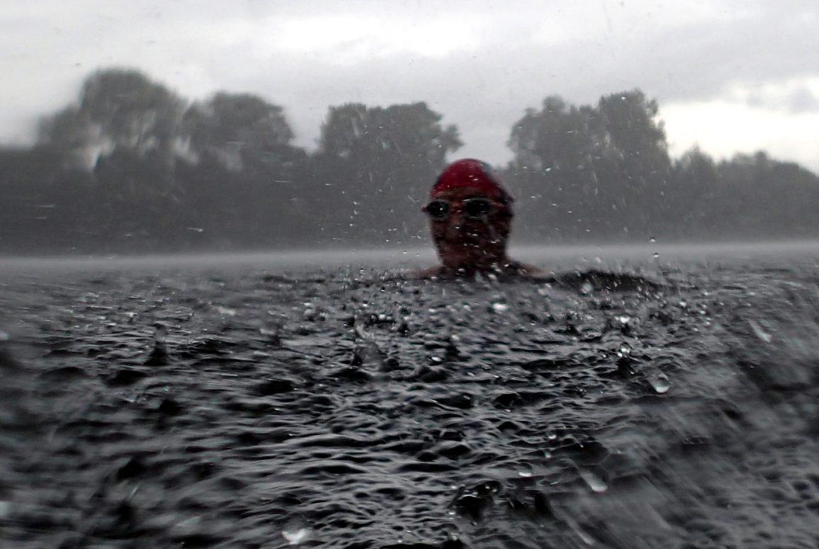 swimmer in rain